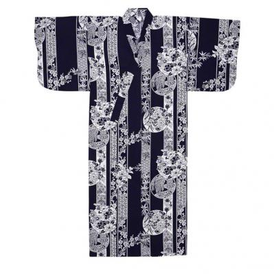 navy yukata robe
