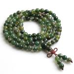 mala beads with 108 moss agate stones strung on a 36 necklace